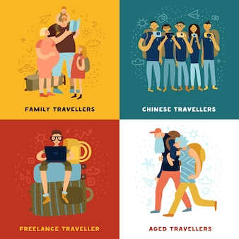 Travel tips concept icons set with family travel symbols flat isolated