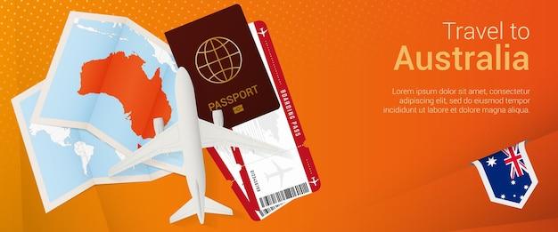 オーストラリアへの旅行ポップアンダーバナーオーストラリアの地図と旗が付いた旅行バナー