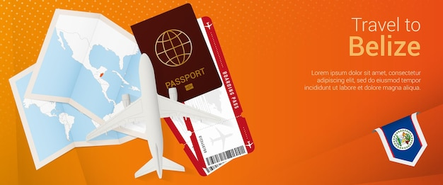 ベリーズのポップアンダーバナーに移動します。パスポート、チケット、飛行機、搭乗券、地図、ベリーズの国旗が付いた旅行バナー。