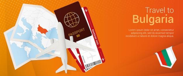 Путешествие в болгарию поп-под баннер. баннер поездки с паспортом, билетами, самолетом, посадочным талоном, картой и флагом болгарии.