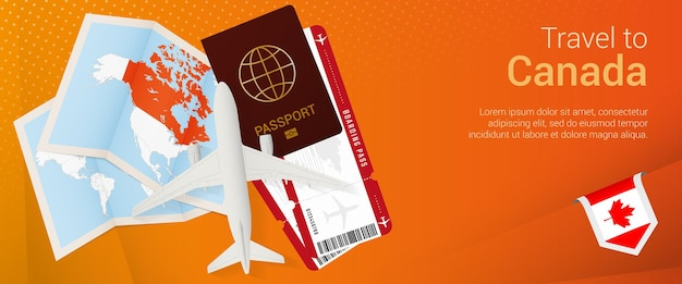 カナダへの旅行ポップアンダーバナー。パスポート、チケット、飛行機、搭乗券、地図、カナダの旗が付いた旅行バナー。