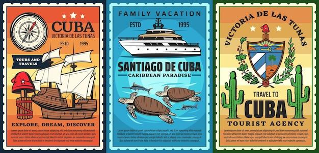 キューバへの旅行、カリブ海のリゾートのレトロなポスター