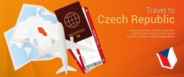 チェコ共和国への旅行ポップアンダーバナー。パスポート、チケット、飛行機、搭乗券、地図、チェコ共和国の旗が付いた旅行バナー。