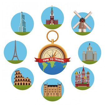 Путешествие к концепции европы с символами раундов