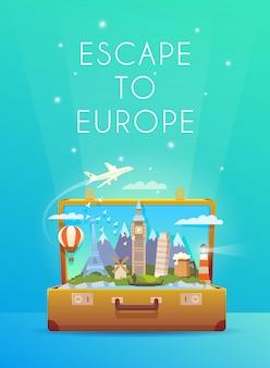 ヨーロッパへの旅行。ロードトリップ。観光。ランドマークのあるスーツケースを開きます。モダンなフラットデザイン。