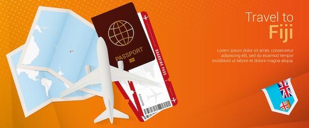 フィジーのポップアンダーバナーへの旅行地図とフィジーの旗が付いた旅行バナー