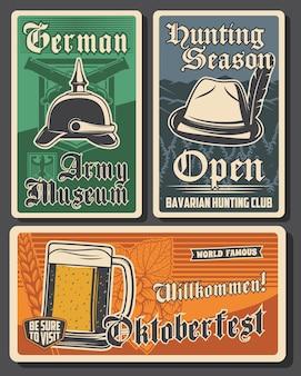 독일 벡터 복고풍 배너로 여행하십시오. 독일 육군 박물관, 바이에른 사냥 클럽, 옥토버페스트. 맥주 축제인 베를린과 바이에른 여행. 여행사 서비스 역사적인 전통 빈티지 카드 세트