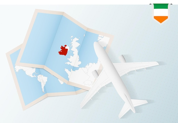 Путешествие в ирландию, самолет вид сверху с картой и флагом ирландии.