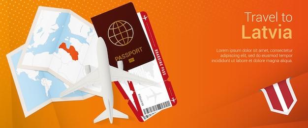 Путешествие в латвию pop-under знамя. баннер поездки с паспортом, билетами, самолетом, посадочным талоном, картой и флагом латвии.