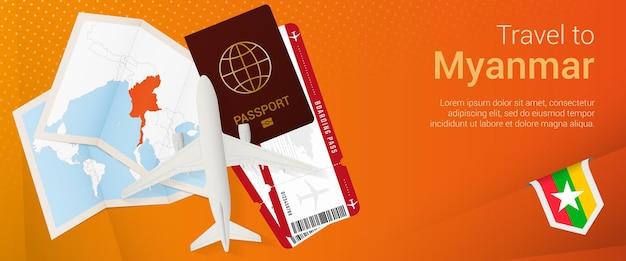 Путешествие в мьянму всплывающее окно. баннер поездки с паспортом, билетами, самолетом, посадочным талоном, картой и флагом мьянмы.