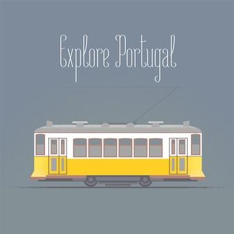 Путешествие в португалию концепции иллюстрации. старый трамвай в лиссабоне
