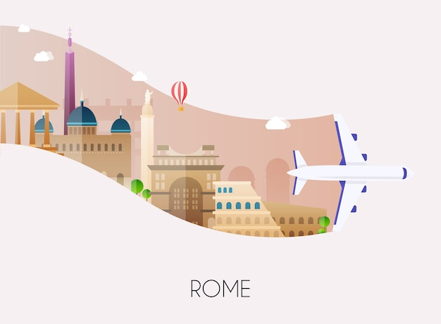 ローマへの旅のイラスト