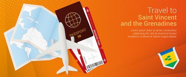 Путешествие на сент-винсент и гренадины. баннер поездки с паспортом, билетами, самолетом, посадочным талоном, картой и флагом сент-винсента и гренадин. Premium векторы