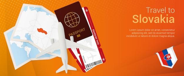 슬로바키아 여행 팝언더 배너 여권 티켓이 있는 여행 배너 비행기 탑승권