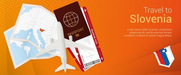 Путешествие в словению всплывающее окно. баннер поездки с паспортом, билетами, самолетом, посадочным талоном, картой и флагом словении.