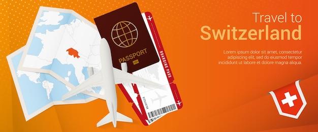 스위스 팝언더 배너 여행. 여권, 티켓, 비행기, 탑승권, 지도, 스위스 국기가 있는 여행 배너.