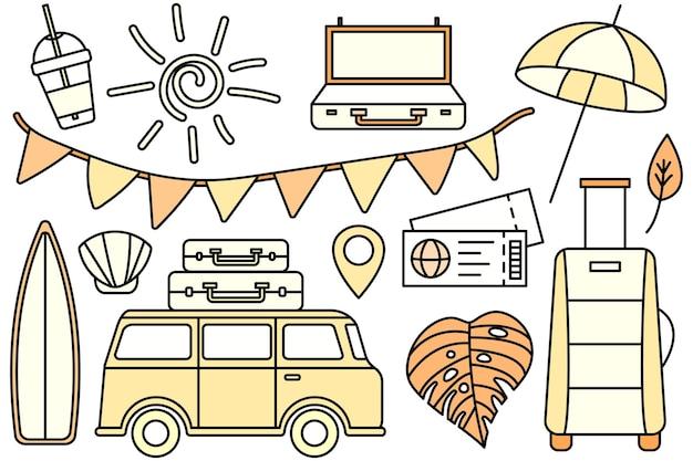 바다로 산으로 여행, 하이킹. 에코 관광. 캠핑 야외 레크리에이션. 벡터 라인 아이콘입니다. 편집 가능한 스트로크. 낙서 스타일. 휴가를 위한 것들의 컬렉션입니다.
