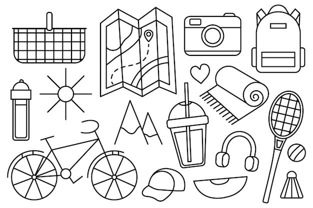산으로 여행, 하이킹. 에코 관광. 캠핑 야외 레크리에이션. 벡터 라인 아이콘입니다. 편집 가능한 스트로크. 낙서 스타일. 휴가를 위한 것들의 컬렉션입니다.