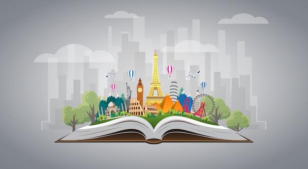 Путешествие в мир. дорожное путешествие. большой набор знаменитых достопримечательностей мира по книге. время путешествовать, туризм, летний отдых. разные виды путешествий.