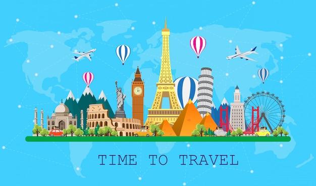 世界への旅。ロードトリップ。世界の有名なランドマークの大きなセット。旅行、観光、夏休みの時間。さまざまな種類の旅。フラット図
