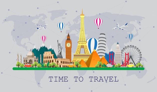 世界への旅。ロードトリップ。世界の有名なランドマークの大きなセット。旅行、観光、夏休みの時間。