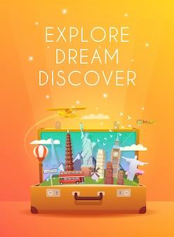 世界への旅。ロードトリップ。観光。ランドマークのあるスーツケースを開きます。モダンなフラットデザイン。
