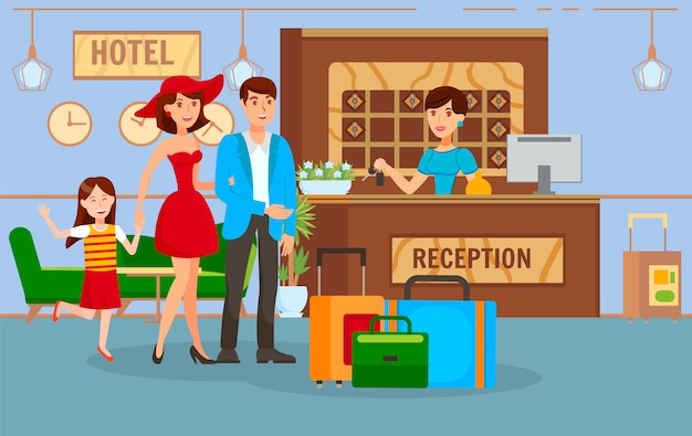 Travel together with family vector illustration