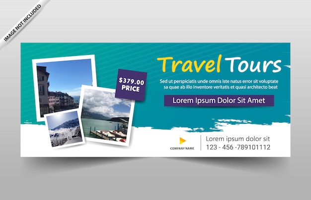 웹 사이트 및 바우처 여행 투어 배너 템플릿