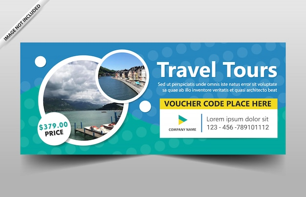 Travel tour banner template for website and voucher