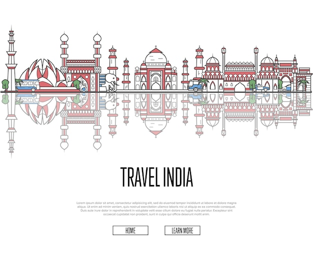 Travel tour to india web template in linear style