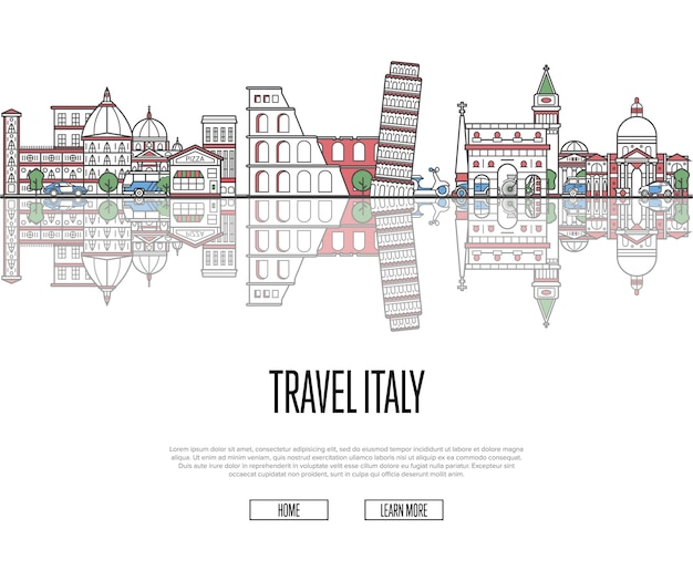 Travel tour to italy poster in linear style