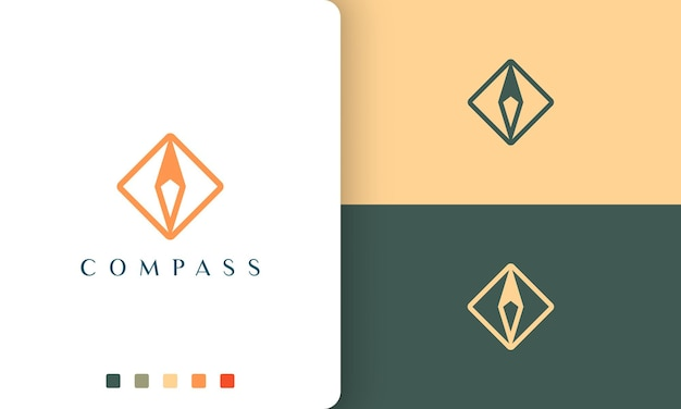 Travel or tour logo vector design with simple and modern compass shape