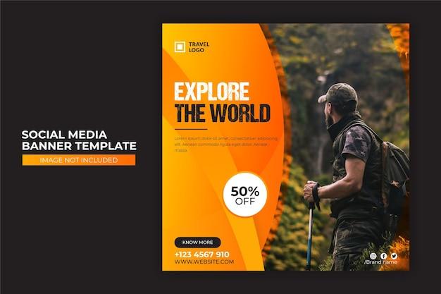Travel tour sale social media banner or web banner design template