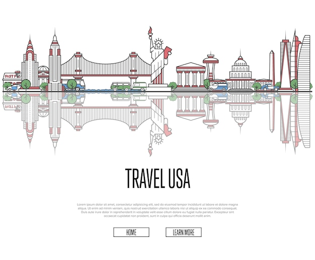 Travel tour to usa website in linear style
