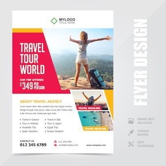 Travel tour vacation a4 flyer brochure design template