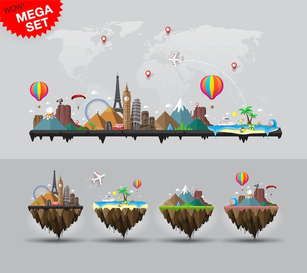 Travel and tourism background and a set of four flying island depicting famous landmarks