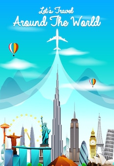 Travel and tourism background with world famous landmarks