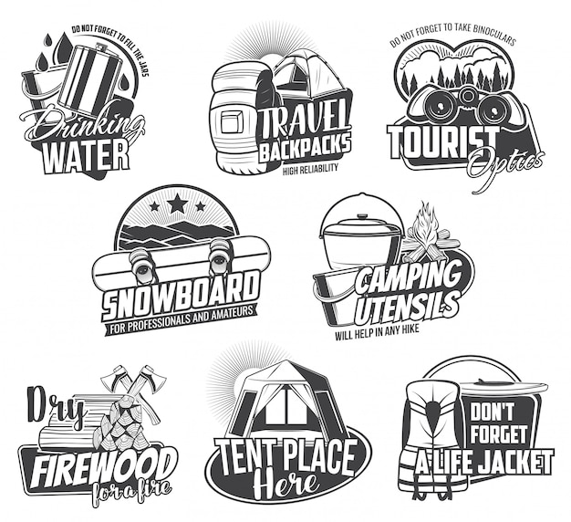 Travel tourism and camping  icons