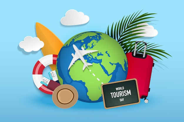 Travel and tourism concept, globe with airplane, beach items, travel accessories and place for text on board illustration