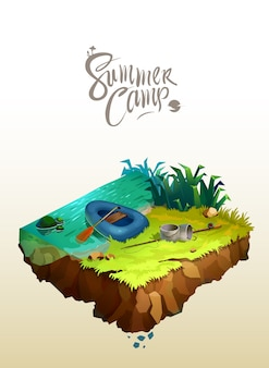 Travel and tourism concept. natural landscape with holiday camp near a lake. vector isometric 3d illustration.