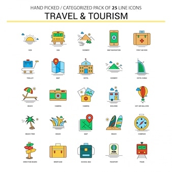 Travel and tourism flat line icon set