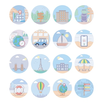 Travel and tourism icons pack