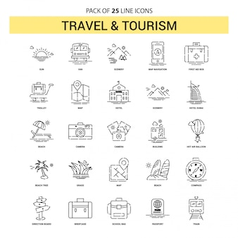 Travel and tourism line icon set - 25 dashed outline style
