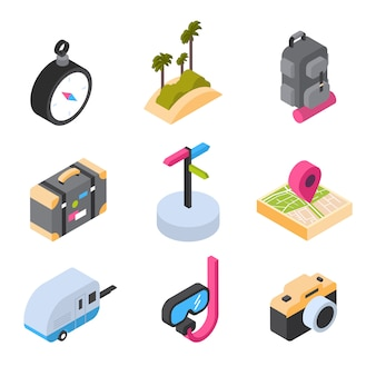 Travel and tourism set of isometric icons colorful summer logos