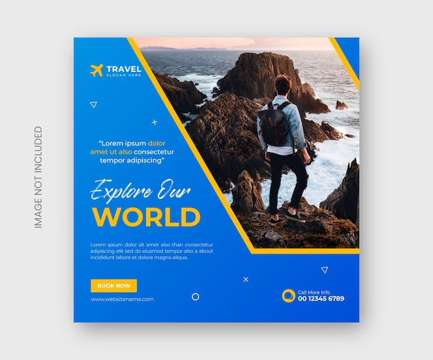 Travel and tourism social media post banner template or tour holiday vacation instagram post