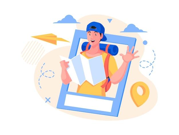 Сообщение в социальных сетях о путешествиях