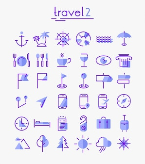 Travel, tourism and weather icons set