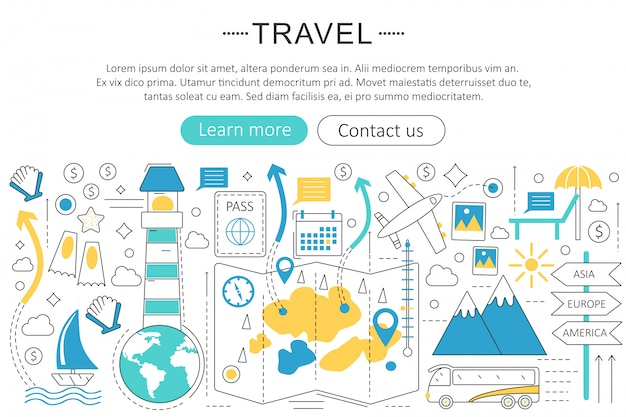 Travel, tourist, traveling flat line concept