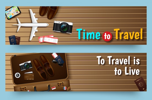 Travel tours banner template, horizontal advertising business banner