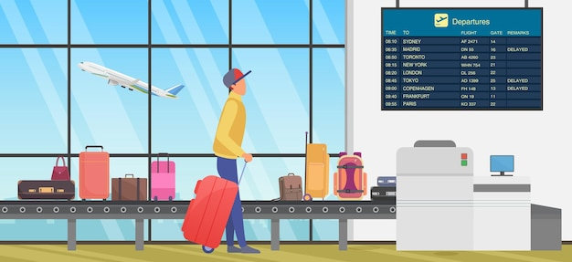 Travel transfer in international airport person looking at flight information timetable